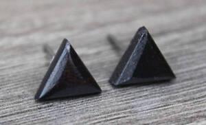 Post Earrings Titanium Wood Ebony Round Triangle Hexagon Unisex Men Women Pair