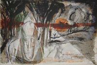 Pierre PARSUS-Lithographie originale signée-Bonhomme G. BRASSENS