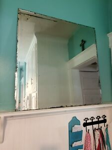 """Vintage Beveled Edge Frameless Wall Mirror Antique distressed square 32"""" x 32"""""""