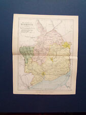 MONMOUTH MAP WITH RAILWAYS-ANTIQUE PHILIPS COLOURED  DATE  1898   APP 7inx 9in