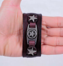 Men Brown Punk Biker Military Star Real Cowhide Leather Cuff Bracelet Pin Buckle