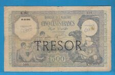 Billet du Trésor 500 FRANCS  Banque de l'Algérie Surchargé TRESOR pour la Corse