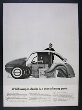 1962 VW Volkswagen Beetle dealer parts photo vintage print Ad