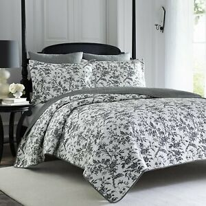 * NEW * Laura Ashley Amberley Black Quilt Set (Full/Queen) (Kayleigh & Co.)