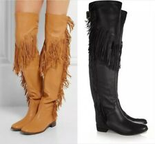 Women Pointed Toe Tassels Shoes Gladiator Over Knee High Boots Plus Sz Nightclub