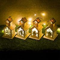 Christmas Xmas Gift Decor LED Light Wooden House Tree Cabin Lanterns DIY Cottage