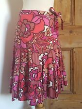 Monsoon Pink Bold Floral Print Skirt 70's Style Size 8 Summer