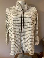 Chaps by Ralph Lauren Plus Size Long Sleeve Shirt Cream Blue Striped Cowl Neck