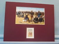 """""""A Cavalryman's Breakfast on the Plains""""   by Frederic Remington & his stamp"""