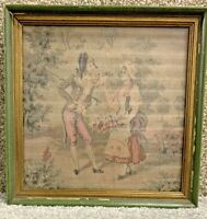 Beautiful Antique Vintage French Tapestry 19th Century Courting Pastel Framed