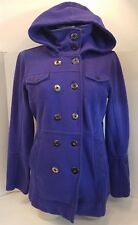 Hurley Women's Bright Blue Jacket Coat 100% Cotton Removeable Hood Deep Pockets!