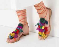 Zara pom Pom jimmy choo alameda turqesa tie sandals BNWT 5