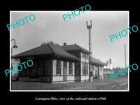 OLD LARGE HISTORIC PHOTO OF LEXINGTON OHIO, THE RAILROAD DEPOT STATION c1960