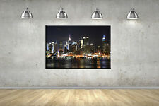 New York Night City Theme Framed Canvas Photo Wall Art Picture Home Decor Poster