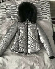Ladies Size 10 River Island Silver Quilted Jacket Coat Puffa Puffer
