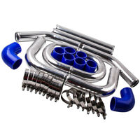 "UNIVERSAL TURBO BOOST INTERCOOLER PIPE KIT 2.5"" 64mm 8 PCS Aluminum PIPING BLUE"