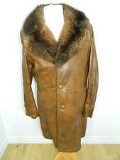 Genuine Leather Jacket Coat Opossum Fur Collar For Men Sz. M-L n.21