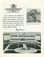 1976 Indianapolis 500 Souviner BrochureIndy 500 Car Race 60th anniversary