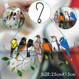 7 Birds Window Panel Ornaments on a Wire Hanging Suncatcher Decor Stained Glass