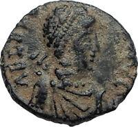 EUDOXIA Arcadius Wife 400AD Authentic Ancient Roman Coin GOD's HAND CROSS i67275