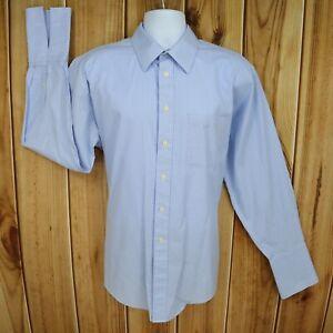 Joseph & Feiss Dress Shirt Mens 17x34/35 Blue White Checks Cotton French Cuff