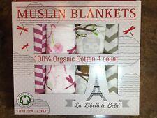 New 4pk 100% Organic Cotton Muslin Baby Blanket by La Libellule Bebe 43 X 43