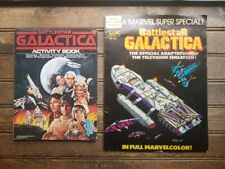 Lot of 2 1978 Battlestar Galactica Coloring Activity Puzzle Book Sci-Fi