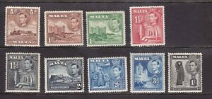 (M1) SELECTION OF 9 KGVI 1938 MNH STAMPS FROM MALTA SEE BOTH SCANS