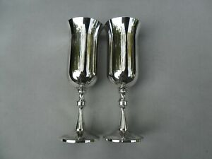 Vintage Pair of Silver Plated Champagne Flutes. Hacker - Portugal