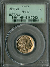 US Coin 1938-D Buffalo Nickel PCGS MS66 NO RESERVE!