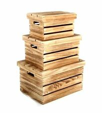 Set Of 3 Rustic Farm Shop Style Wooden Slatted Storage Box Crates With Lids