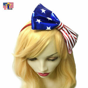 American Flag Tie Bow Women Girl Headband Hair Hoop Band Patriotic 4th of July
