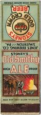 1930s Smithton Pennsylvania Stoney'S Beer Matchcover TavernTrove