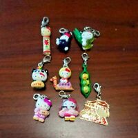 Vintage SANRIO Hello Kitty Charm 9 pics Set Japan Limited Kokeshi Panda Fruits