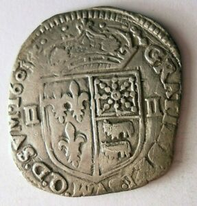 1605 FRANCE 1/4 ECU - Awesome Rare Silver Coin - High Quality - Lot #J12