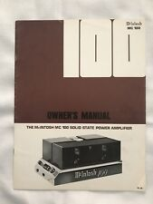 McIntosh MC 100 Solid State Power Amp Original Owner's Manual - Great Condition