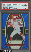 2018 Panini Chronicles Select Blue Prizm Mike Trout Angels 38/149 PSA 10