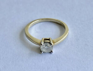 9ct Gold 0.45ct Diamond Solitaire Engagement Ring Size J