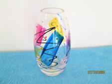 BEAUTIFUL ART DECO GLASS VASE WITH HAND PAINTED COLORS