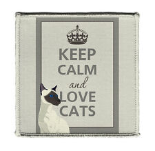 """Keep Calm AND LOVE CATS SIAMESE KITTY Iron on 4x4"""" Embroidered Edge Patch Jacket"""