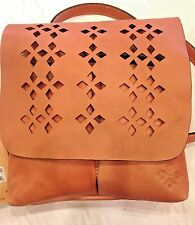 NWT Patricia Nash Granada Italian Leather Perforated Oil Rub Crossbody $128
