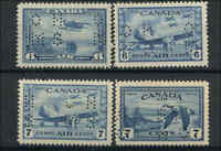 1928-46 Canada Mint H VF Scott #OC6-OC9 Official Perforated Air Mail Stamps