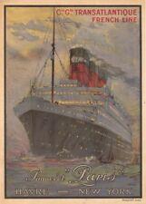 Cie Gle TRANSATLANTIQUE SS PARIS FRENCH LINE French Travel Poster. Art Deco