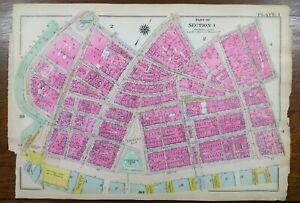 Vintage 1916 BATTERY PARK MANHATTAN NEW YORK CITY Map ~ State st to Cedar st