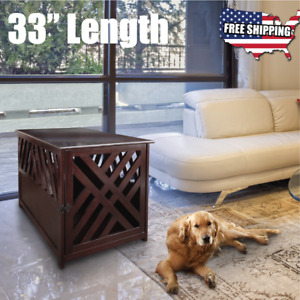 Indoor Dog Crate Latch Medium Small Pet Kennel Wood End Table Furniture w Cover