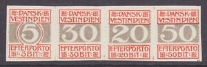 Danish West Indies Sc J5-J8 MLH. 1905 Postage Dues, imperf proof strip, VF. Cert