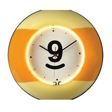 "19"" Large 9 Ball Yellow Neon Clock Billiard Wall Clock New"