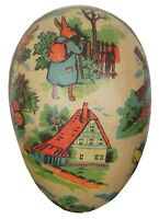 Antique German Paper Mache Easter Egg Candy Container Traveling Story Rabbit 3""