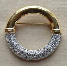 Vintage SWAN Mark Gold/Silvertone SWAROVSKI Clear Crystal HOOP Shape Pin Brooch