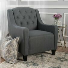 Canberra Dark Grey Fabric ArmChair Lounge Arm Tub Chair Sofa